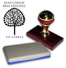Ex Libris Modelo 17 - Ex Libris modelo 17 , incluye el mango de madera caoba y latón pulido, tamaño 62 x 38 mm, almohadilla y bolsa limosnera.