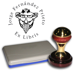Ex Libris Modelo 19 - Ex Libris modelo 19 , incluye el mango de madera caoba y latón pulido, tamaño 40 mm de diametro, almohadilla y bolsa limosnera.
