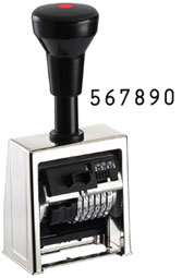 Numerador Automático Reiner B6 - Numerador Automático Reiner B6, Sólido y muy económico. Armazón metálico, niquelado de alto brillo. 6 ruedas de aleación especial. Marcaje con o sin ceros delante de los números. Las 5 primeras ruedas (desde la derecha) con cambio automático. Peso neto: 360 grs. Cambio: 0x, 1-6x, 12x, 20x .Altura de cifras: 4,5 mm. Entintaje automático: Colorbox negro. Hasta 20.000 impresiones perfectas