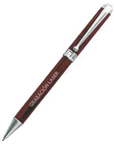Portaminas Madera PMCB - Portaminas de madera giratorio terminaciones plateadas. En el precio incluye una grabación laser en el bolígrafo.